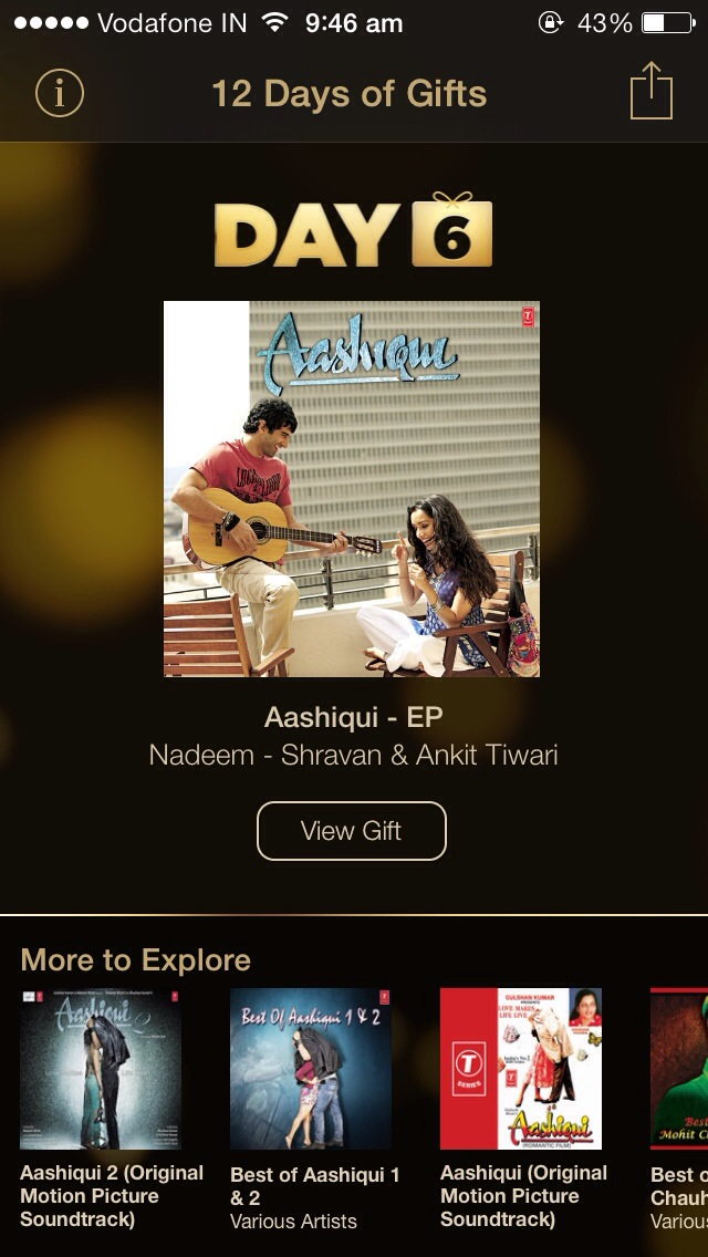 "Day 6 gift from Apple ""12 Days of Gift"": 3 songs from Aashiqui goes free"
