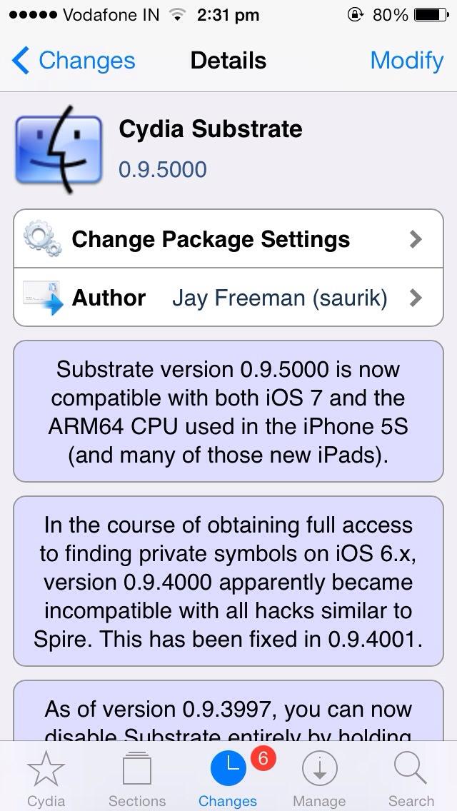 Mobile substrate updated , supports ios 7 & 64 bit CPU