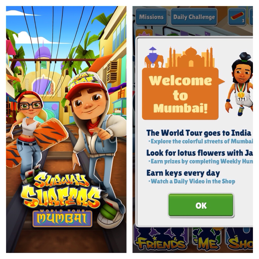 Subway surfers updated, World Tour visits Mumbai