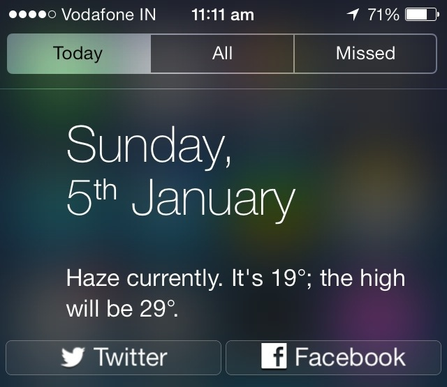 How to get back Social share widget in iOS 7