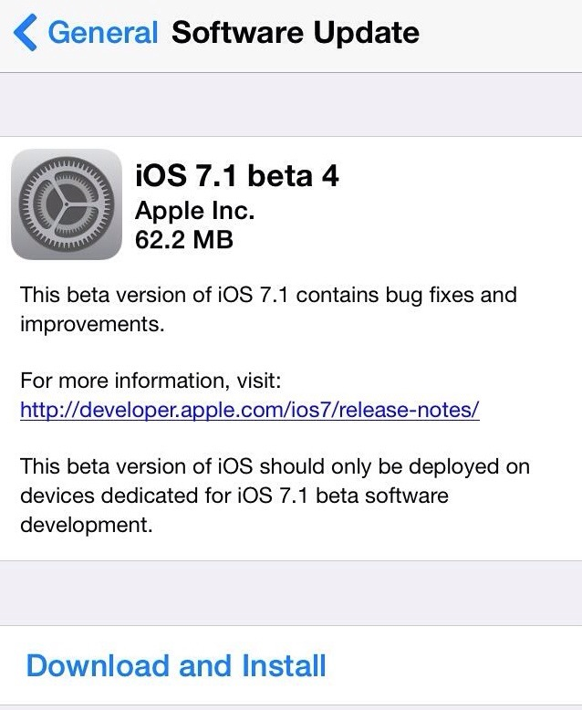 Apple released iOS 7.1 beta 4 to developers