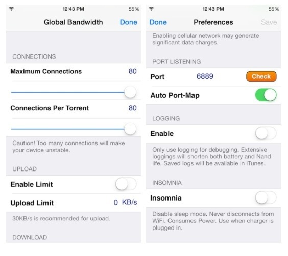 iTransmission 4: Native Bit Torrent client for iPhone