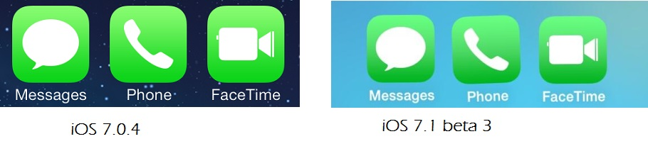 icons changes in iOS 7.1 beta 3