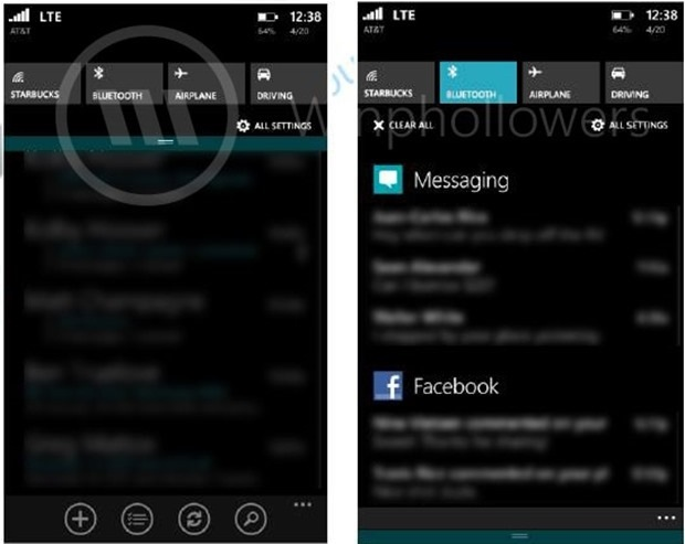 Windows Phone 8.1 Action Center leaked in a image