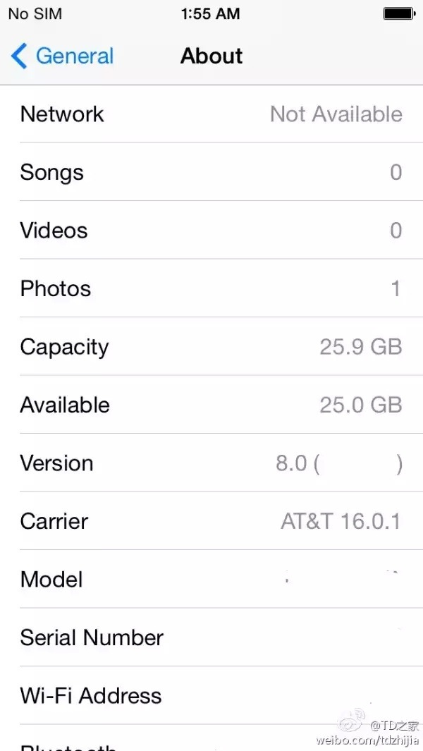 iOS 8 settings menu