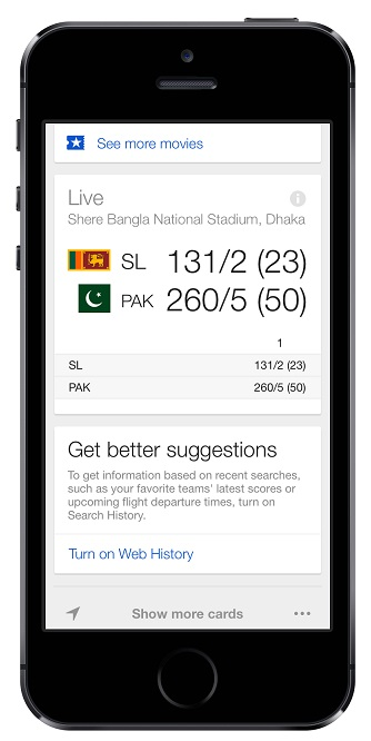 Google now cricket card