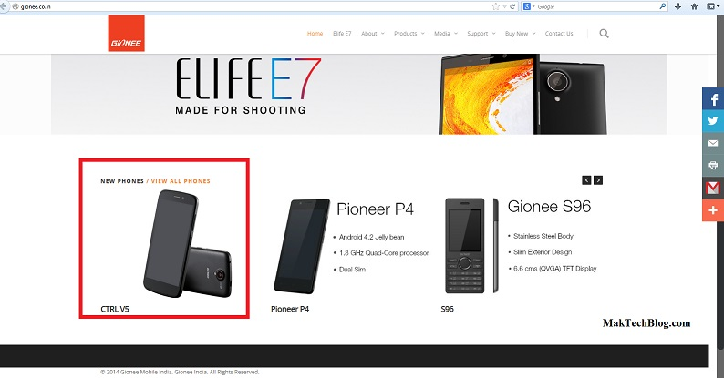 gionee ctrl v5 website