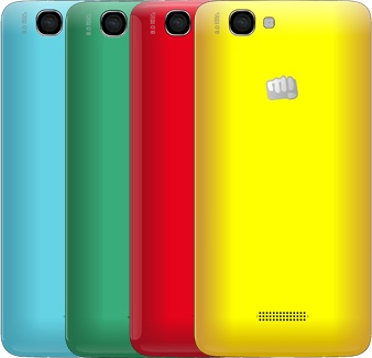 Micromax Canvas 2 Colors A120 with swappable back cover listed online