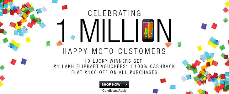 Flipkart sells 1 million Motorola devices, announces luck draw offer