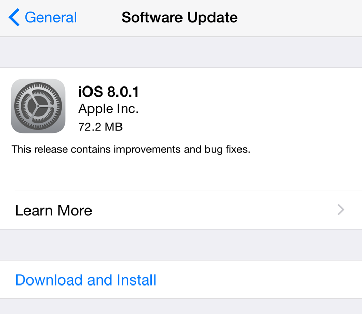 Apple iOS 8.0.1 update