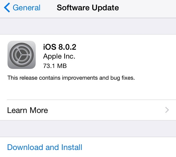 Apple iOS 8.0.2