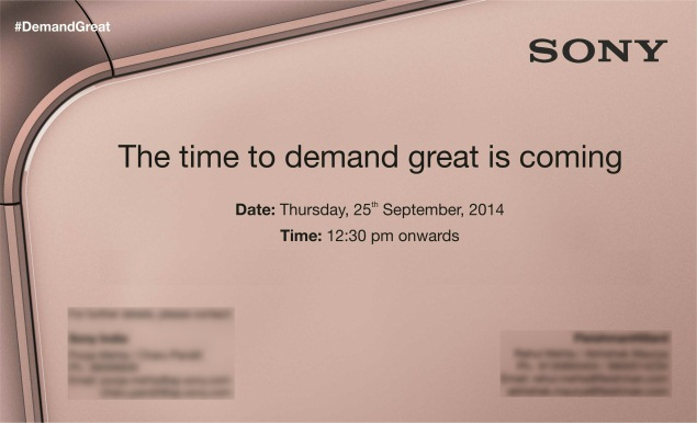 Sony india invite 25 sept