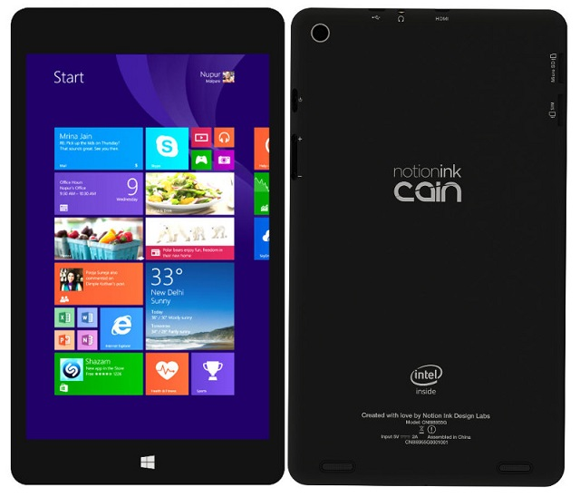 Notion Ink Cain 8 Windows 8.1 tablet launched in India for Rs. 9,990