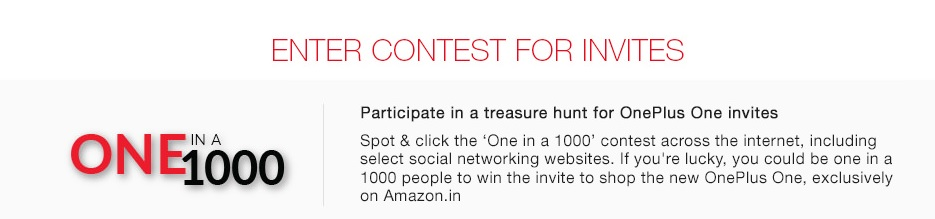 One in a 1000 oneplus contest