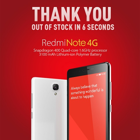 Xiaomi RedMi Note 4G goes out of stock in India in 6 seconds
