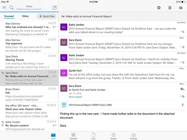Outlook App on iOS iPad