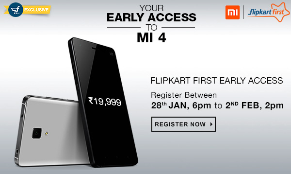 Flipkart will automatically add Xiaomi Mi 4 to 2500 Flipkart First subscribers cart