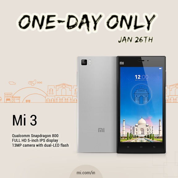 Xiaomi to sell Xiaomi Mi3 in India on 26 January