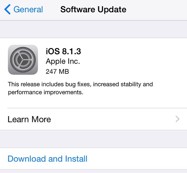 Apple releases iOS 8.1.3 with spotlight bug fix and reduced storage required for updates