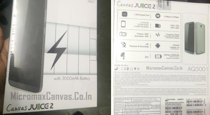 Micromax Canvas Juice 2 AQ5001 with Android 5 launched; Price and Specs