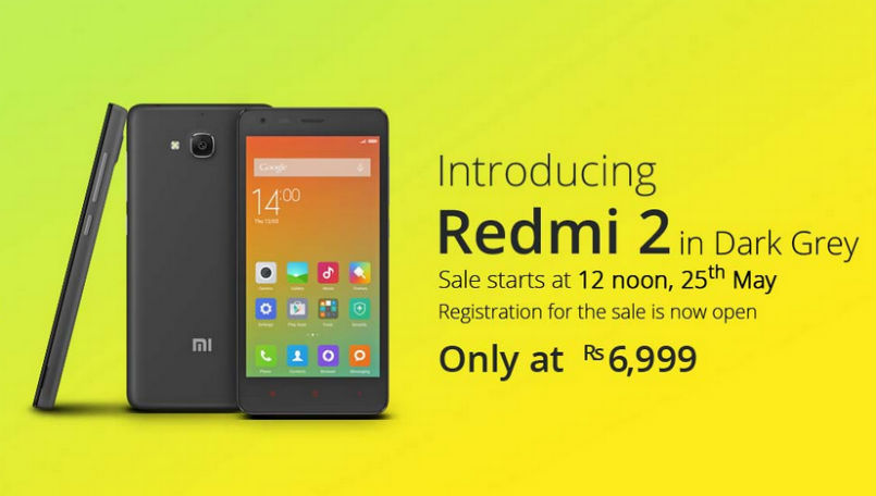 Xiaomi Redmi 2 in Dark Grey color to be available in India from tomorrow