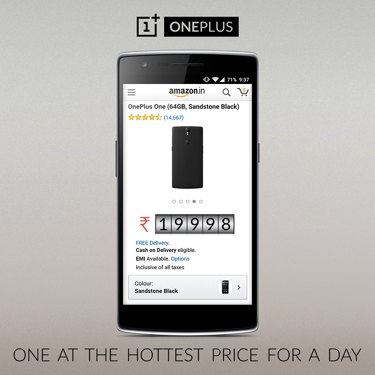 For a day OnePlus One 64GB is available for Rs. 19,998 in India on Amazon