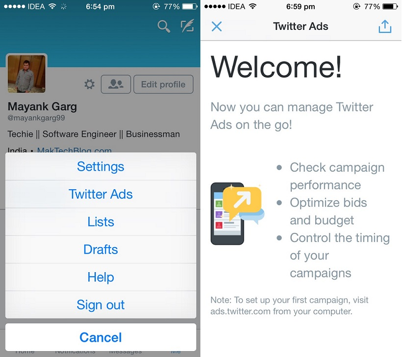Now manage Twitter Ads from official iOS and Android Twitter Mobile Apps