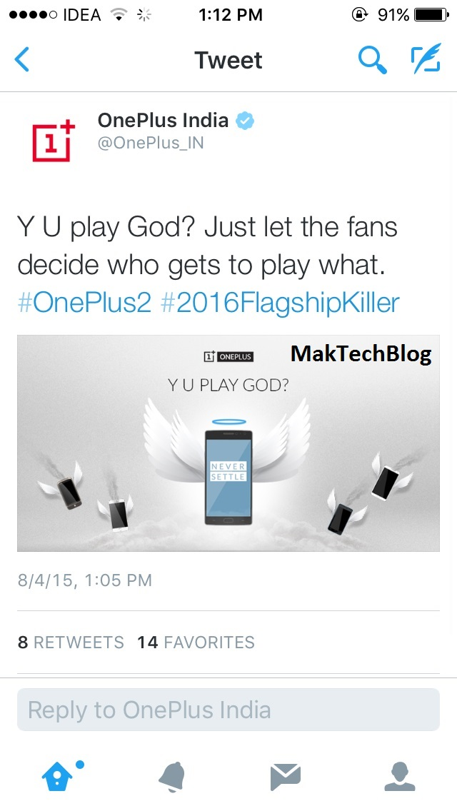 OnePlus takes a dig at Micromax's YU on Twitter