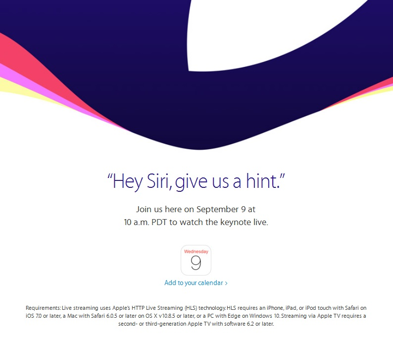 Apple schedules ' Hey Siri, Give us a hint' event on 9th September