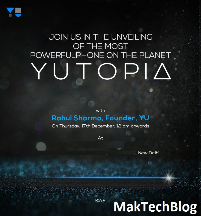 Yu sends official Media invites for Yu Yutopia launch event on 17 December
