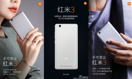 Xiaomi RedMi 3 with 4,100mAh battery to be launched on 12 January