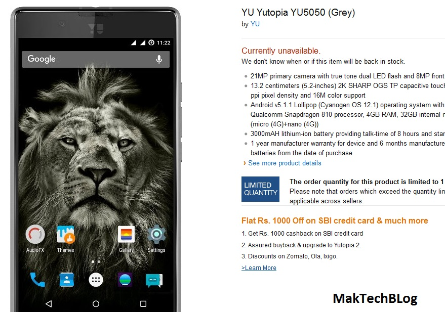 Yu Yutopia YU5050 goes 'Currently unavailable' on Amazon in India