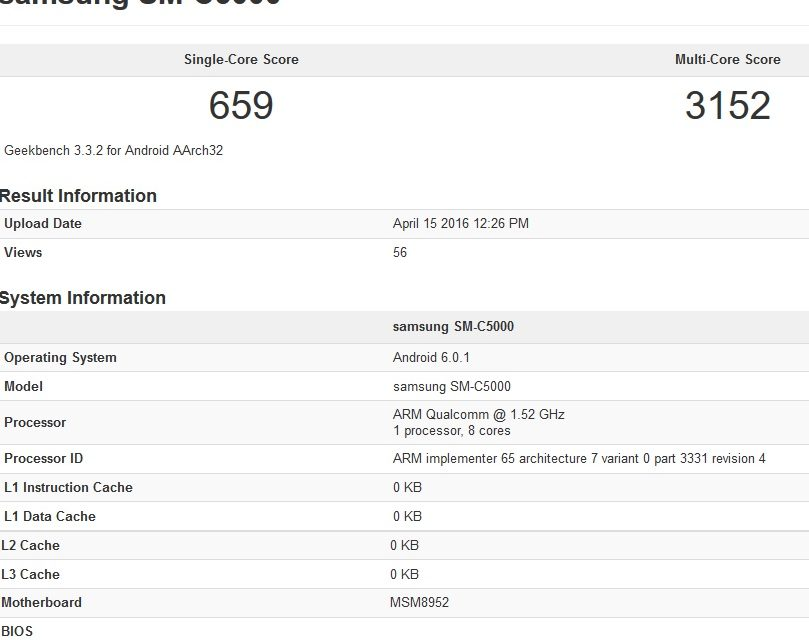 Samsung Galaxy C5 SM-C5000 appears in benchmark, 4GB RAM in tow