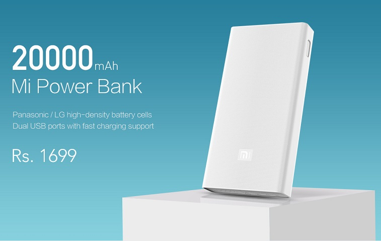 Xiaomi 20,000mAh Mi power bank launched in India for Rs. 1,699