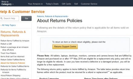 Now you cannot return Tablets, Laptops, Desktops, Cameras on Amazon India