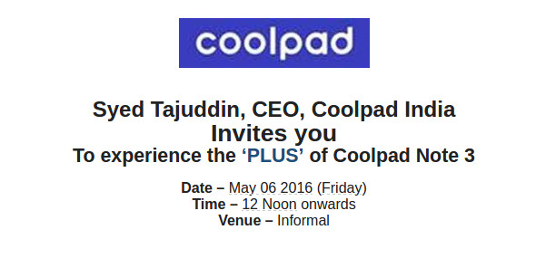 Coolpad Note 3 Plus to be launched in India on Friday 6 May