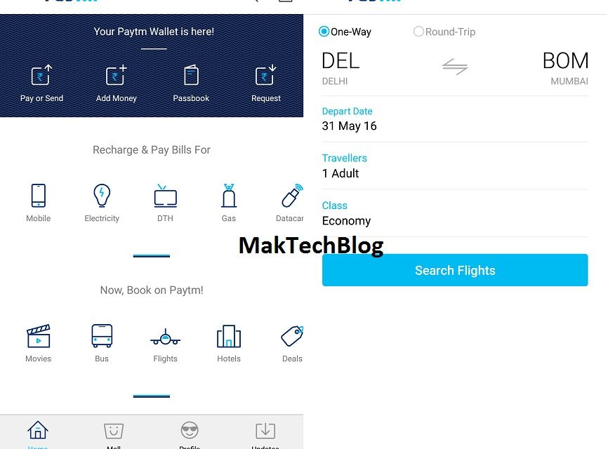 Cashback offers on recharge through Paytm
