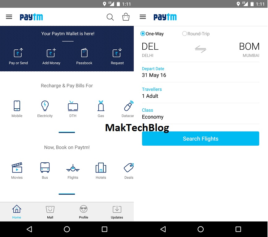 PayTM Flight booking