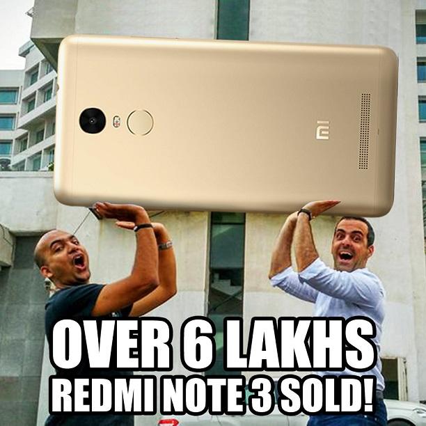 Xiaomi sells 6 Lakh units of Xiaomi Redmi Note 3 in India in 60 Days
