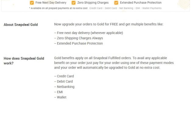 Snapdeal Gold with No shipping charges, next day delivery launched