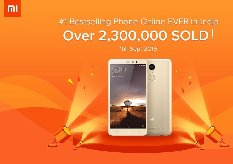 Xiaomi sells 23 Lakh units of Xiaomi Redmi Note 3 in India