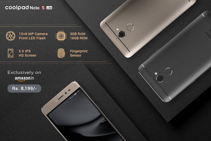 Coolpad Note 5 Lite with 32GB launched in India, priced at Rs. 8,199