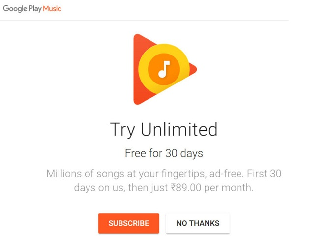 Google Play Music All Access goes live in India, priced at Rs. 89 after free trial