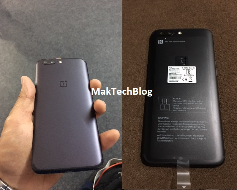 OnePlus 5 Colors Black & Grey