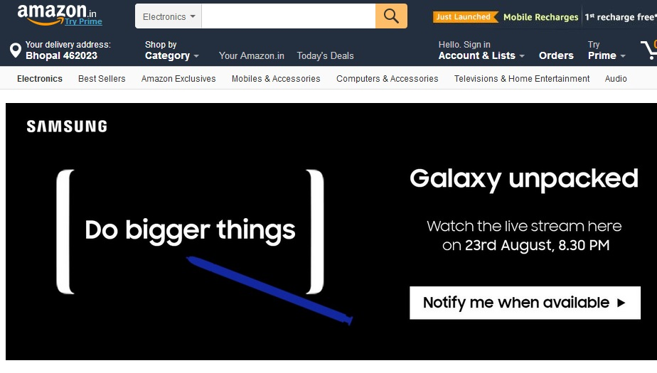 Samsung Galaxy Note8 launching in India soon via Amazon