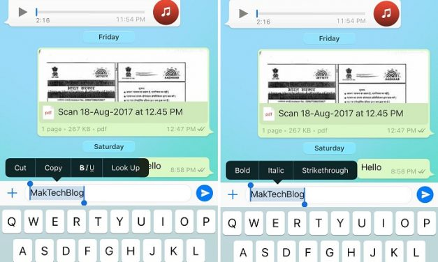 WhatsApp for iPhone now makes it easier to format the text by selecting the text